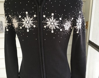 Black Cotton Talbot's brand Sweater, Size Petite, Embroidered snowflakes