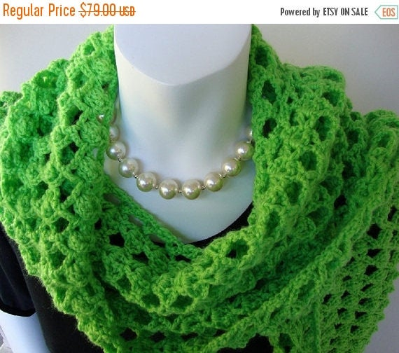 25% OFF Crochet Scarf, Scarves, Green Scarf, Scarf Shawl, Women's Scarves, Limeade Green, Gift for Her, Gift for Mom, Hand Crocheted