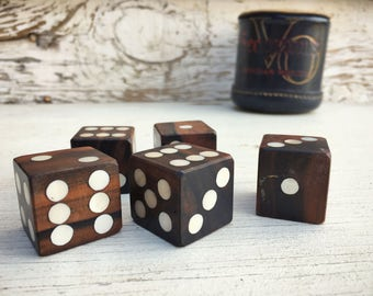 Rare five wood dice Mother of Pearl inlay professional leather Seagrams VO dice cup, gift for gambler, vintage Yahtzee game Fathers Day gift