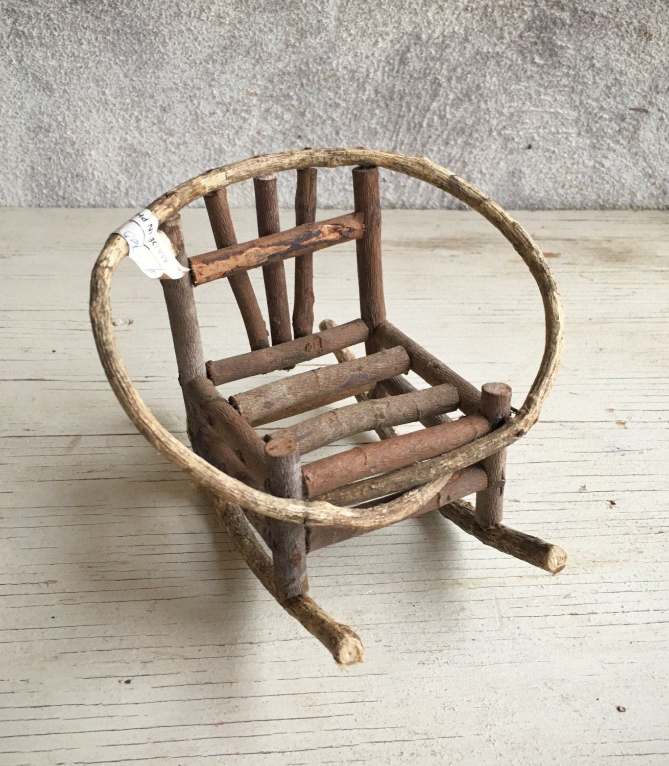 Vintage Miniature Bent Twig Rocking Chair Rustic Doll Furniture Bent Willow  Dollhouse Rocker