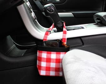 Car CELLPHONE Caddy, Red/ White Plaid, Customizable for your car, great gift idea, Car Sunglass Holder