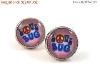 Sale Love Bug Earrings, Peace Sign Earrings, Teen Earrings, Gifts Under 15, Jewelry with Words, Love Bug, Earrings for Teens, Pink and Blue