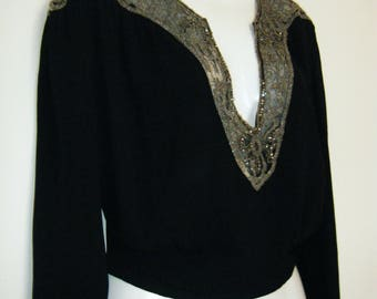 1930's beaded rhinestone BLOUSE by BULLOCK'S Los Angeles Evening Room, size xl