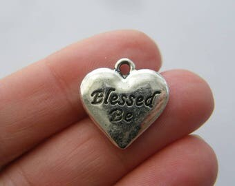 6 Blessed be heart charms antique silver tone HC18