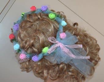 Rainbow Flower crown, flower headband, wedding crown, head piece, head wreath, hair accessories, rainbow crown, flower girl crown