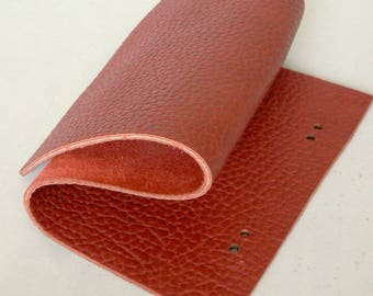 Full Grain Thick Pebbled Red Leather Scrap