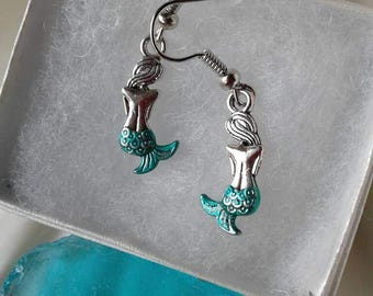 Silver Mermaid Earrings,Teal Green