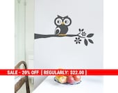 Holiday Sale - Owl on a Branch Decal - Cute Vinyl Wall Sticker
