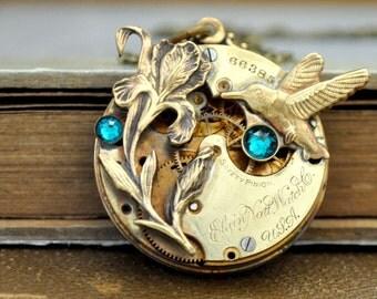 steampunk necklace LOVE TAKES TIME antique year 1900s Elgin brass vintage pocket watch with iris flower and blue zircon Swarovski rhinestone