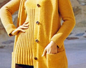 Knitting Pattern for Ladies Womens Longline Coat with Pockets - Retro Vintage download