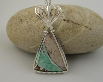 WSP-0246 Handmade Variscite Gemstone Pendant Wire Wrapped With .925 Sterling Silver Wire