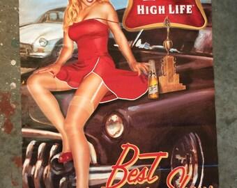 Miller High Life PIN UP Vintage Poster