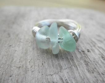 Soft Aqua Beach Glass Ring size: 9