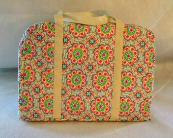 Carrying Bag for the Sizzix Big Shot Machine/ Floral Medallion Print / Die Cut Machine Carrying Case / Cream Handles