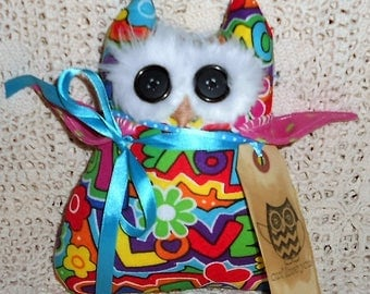 OWL LOVE YOU OwL Doll/Pillow/Hang Up Primitive Owl Handmade with Cute Tag Hafair