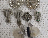 Vintage Rhinestone Buckle, Buttons, and Clips for Repair or Repurposing