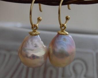 Aoife - OOAK Hoop drop Pearl Earrings, wedding fashion, flameball pearl, gold vermeil, gift idea, jewelry, anniversary, June Birthday, women
