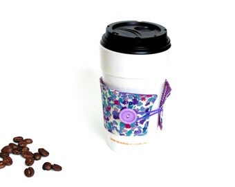 Reversible coffee cup holder, purple hot cup cozy, coffee to go holder, coffee lover gift under 10