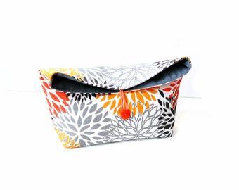 Fold over clutch, grey orange modern bold fabric, floral bag, medium weight cotton purse, clutch bag, fold over handbag
