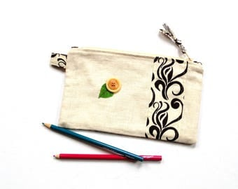 Cosmetic bag, zipper pouch, slim clutch bag, make up bag, linen bag, linen clutch, gift for her under 20, travel pouch, back to school