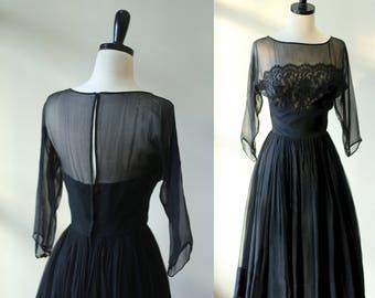 Black Cocktail Dress 1950s Vintage Dress Black Evening Semi Formal Exposed Back Full Skirt Black Lace Mid Length Sheer Womens Medium