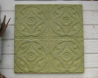 Tin Ceiling Tile.  Architectural salvage from Oklahoma. Green wall art.  FRAMED & Ready to hang. Antique pressed tin tile. Metal wall decor.