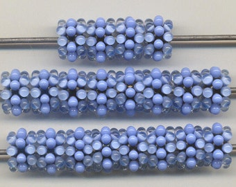 Reserved for Debra G., Tom's lampwork glowing periwinkle blue urchins disc beads,  4 bead set, 2 pair,  95863