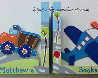 personalized bookends,build it,customized,cars,airplanes,dump truck,bookends,transport theme,boys bookends,children's bookends,kids bookends