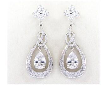 Crystal Bridal Earrings, Wedding earrings, Swarovski Silver Long dangle earrings, Wedding, Bridesmaids, Crystal Pearl Drop Earrings - Ellie