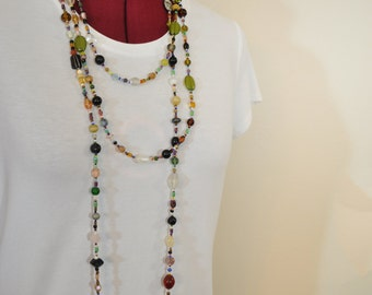 "Beaded NECKLACE - Long 25"" (50"") Multiple Earth Colors Green Red Brown Black Amber Seed Bead Glass Bead - Goes with Everything Necklace 70"