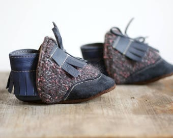 eco-friendly soft sole leather baby mocassins,slippers ,reclaimed leather and wool,blue wool and blue leather, fringe. 12-24 months
