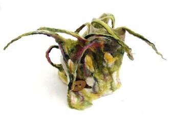 Spring floral nuno felt scarf felted neckwarmer fiber art boho fashion