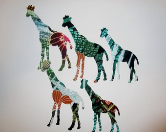 5 Large Tribal Giraffe Iron On Fabric Applique Jungle Rain Forest
