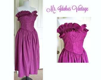 Vintage 80's dress by Richilene Saks fifth Avenue - strapless, tea length, vintage gown