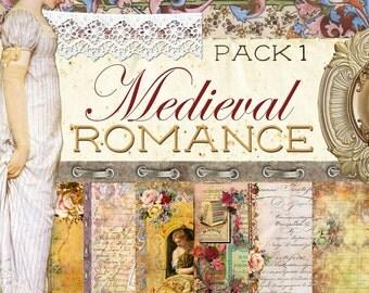 "Digital Paper Journal Kit ""Medieval Romance - Part 1"" - Digital Paper Pack 1"