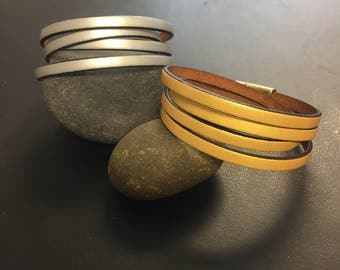Leather Wrap Bracelet - Double Wrap Leather Bracelet - Metallic Leather Wrap Bracelet - Magnetic Closure Bracelet - Gold or Silver Bracelet