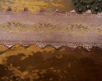 Vintage Appeal Picot Rose Ribbon Crazy Quilt Trim  Vintage Violet Bliss
