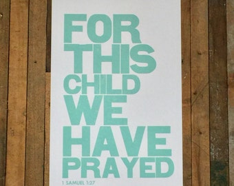 Religious Baby Nursery Art Print, For this Child We have Prayed, Aqua Letterpress Poster, Children's Wall Art
