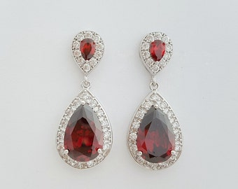 Red Bridal Earrings, Red Bridal Jewelry Set, Red Bridal Bracelet, Cubic Zirconia Tear Drop, Red Wedding Earrings, Red Wedding Jewelry, Ula