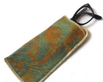 vintage 50s deadstock embroidered eyeglasses case soft damask silk lined eye glass eyewear mcm nos mid century modern retro teal gold floral