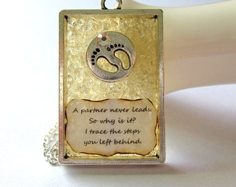 Footsteps Verse Necklace - Stained Glass Poetry