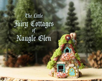 Fairy House of Naugle Glen - Handcrafted Fae Cottage with Chimney, Arched Door, Tiled Roof, Blooming Flower Boxes & Moss