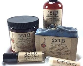 221B Baker Street Gift Set, Sherlock Inspired Gift Set, Bath and Body Gift Set, Artisan Soap, Body Lotion, Sugar Scrub, Perfume, Lip Balm