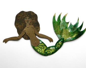 Mermaid Paper Art Doll, Black Mermaid, Melanated Mermaid, Art Doll,  Green Mermaid Doll, Mermaid, Articulated Paper Doll, Jointed mermaid