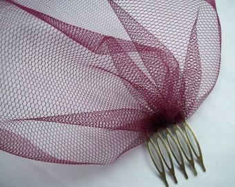 Burgundy Wine Tulle Mesh Birdcage Bandeau Bridal Brides Burlesque Wedding Veil - Made to Order