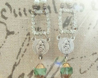 Antique Religious Medal Vintage RhinestoneJewelry Dangle Earrings Upcycled Recycled