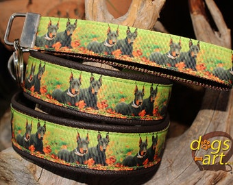 "Dog collar ""Doberman"" by dogs-art, doberman dog collar, dobermann dog collar, doberman, dobermann, hundehalsband, leather dog collar, dobe"