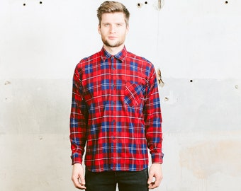 Men's TARTAN Plaid Flannel Shirt . Men's 1990s Grunge Red Flannel Boyfriend Button Up Shirt . Large