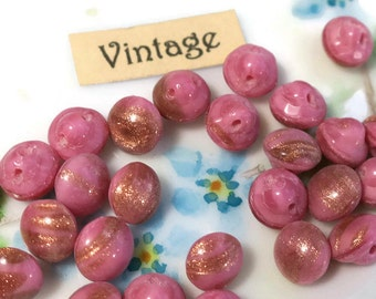"Vintage Buttons Foil Pink Gold Tiny Self Shank 1/4"" 6mm Doll NOS Chalk Shabby Chic with gold foil bronze (33F )"