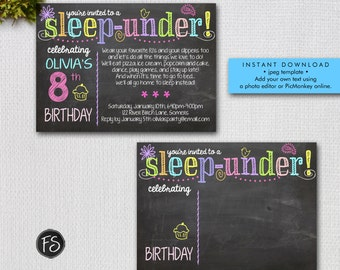 Sleep Under Invitation /  Chalkboard Sleep Under Party / Instant Download  / Add Your Own Text / Digital File, Invitation Template / #5504
